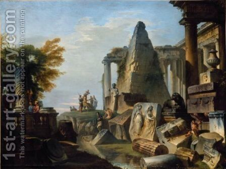 A Philosopher And Soldiers Amongst Ancient Ruins Including The Pyramid Of Gaius Cestius by Giovanni Paolo Panini - Reproduction Oil Painting