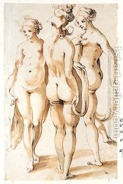 The Three Graces by (after) Sebastian Schutz - Reproduction Oil Painting
