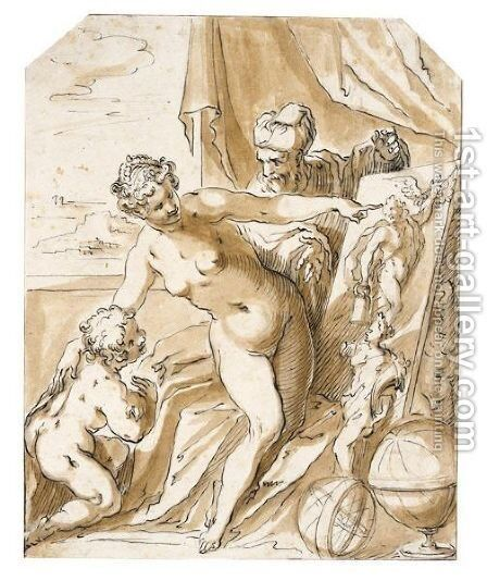 A Painter In His Studio With His Muse And A Putto by Bavarian School - Reproduction Oil Painting