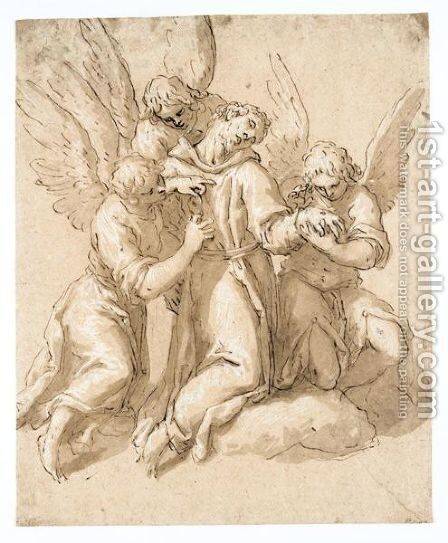 St. Francis Tended By Three Angels by Jacopo d'Antonio Negretti (see Palma Giovane) - Reproduction Oil Painting