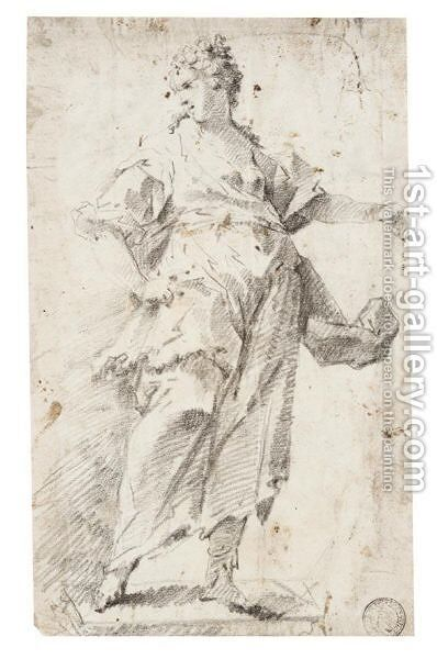 Study Of A Draped Standing Woman, Her Head Turned In Profile To The Left by (after) Giovanni Antonio Guardi - Reproduction Oil Painting