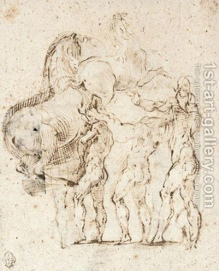 Sheet Of Studies Of Standing Figures And Two Rearing Horses by Girolamo Francesco Maria Mazzola (Parmigianino) - Reproduction Oil Painting