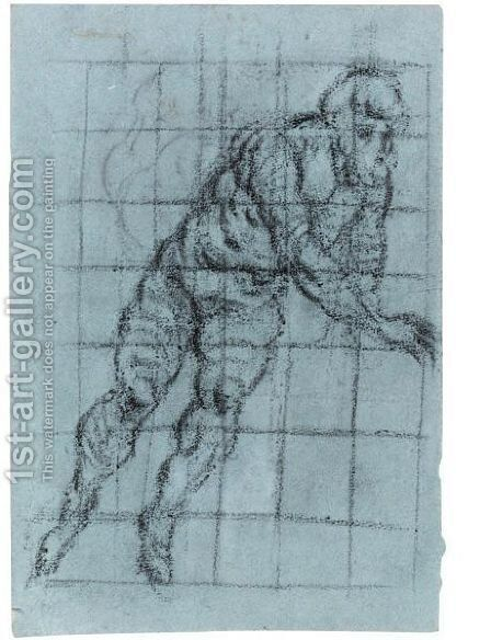 Study Of A Twisting Male Nude by Domenico Tintoretto (Robusti) - Reproduction Oil Painting