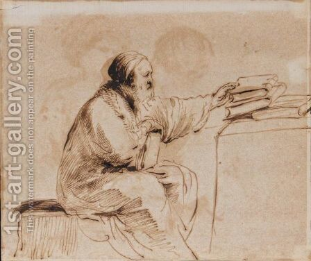 A Seated Man, Placing Books On A Table by Giovanni Francesco Guercino (BARBIERI) - Reproduction Oil Painting