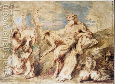 A Satyr And A Bacchante With Cupid In A Landscape by Giovanni Benedetto Castiglione - Reproduction Oil Painting