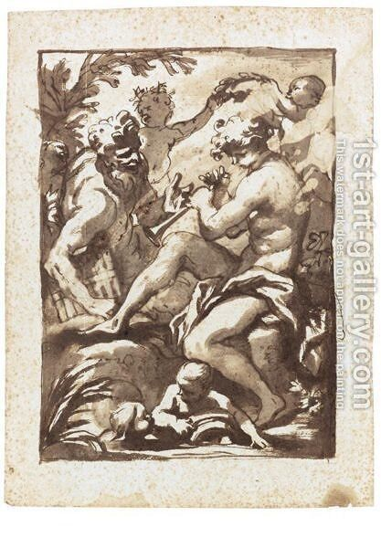 A Shepherd Playing A Pipe, Pan Beside Him And Putti Crowning Him With A Laurel Wreath by Domenico Piola - Reproduction Oil Painting