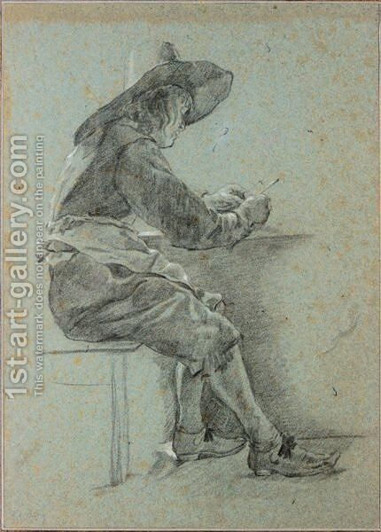 A Young Man In A Hat Seated At A Table, Filling His Pipe by Dutch School - Reproduction Oil Painting