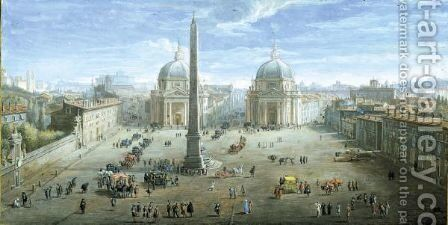 View Of The Piazza Del Popolo by Caspar Andriaans Van Wittel - Reproduction Oil Painting