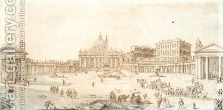 View Of The Cathedral And Square Of St. Peter'S, Rome by (after) Francesco Pannini - Reproduction Oil Painting