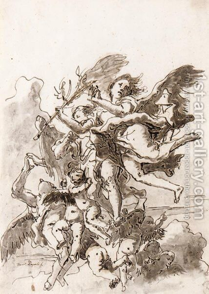 Angels And Putti In The Clouds, Holding A Martyr's Palm by Giovanni Domenico Tiepolo - Reproduction Oil Painting