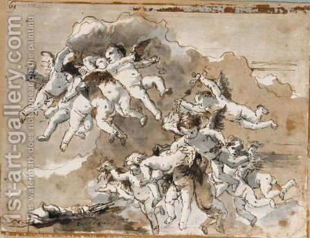 Putti In Clouds by Giovanni Domenico Tiepolo - Reproduction Oil Painting