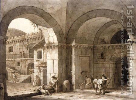 View In A Vaulted Entrance, With Various Figures, And A Courtyard Beyond by Antonio Zucchi - Reproduction Oil Painting