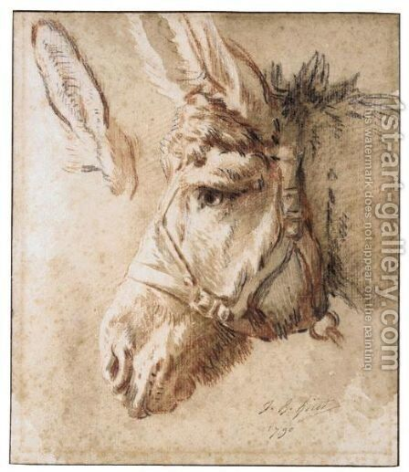Study Of A Donkey's Head, With Another Study Of His Ear by Jean-Baptiste Huet - Reproduction Oil Painting
