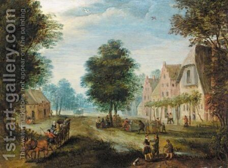 Village Scene With Figures Conversing In The Foreground, And Figures Dancing Beyond by (after) Jan The Elder Brueghel - Reproduction Oil Painting