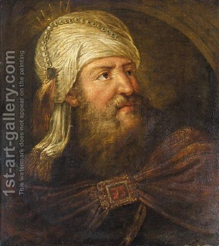 An Oriental King - Aliasuerus() by (after) Rembrandt Van Rijn - Reproduction Oil Painting