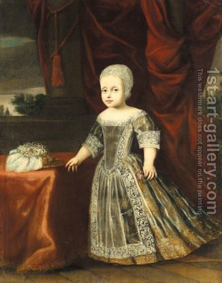 Portrait Of A Young Girl Wearing A Grey Embroidered Dress And A White Cap, Holding A Flower In Her Left Hand by (after) Justus Sustermans - Reproduction Oil Painting