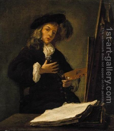 Portrait Of An Artist At His Easel, Probably A Self-Portrait by (after) Gabriel Metsu - Reproduction Oil Painting