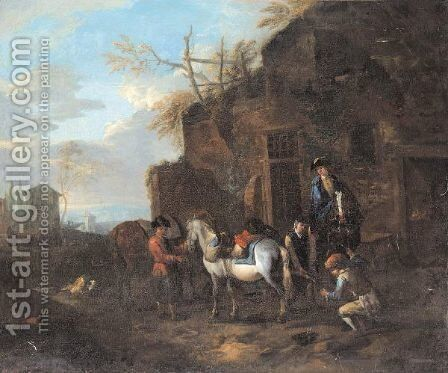 Horsemen At A Blacksmith's Forge, With A Horse Being Shod by (after) Pieter Van Bloemen - Reproduction Oil Painting