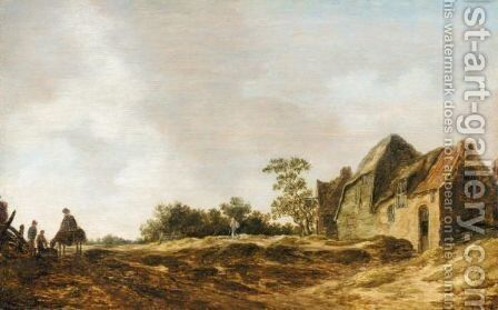 A Landscape With A Cottage And Figures by (after)  Jan Van Goyen - Reproduction Oil Painting