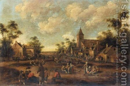 Village Scene With Crowds Of Figures Before A Church by Cornelius Droochsloot - Reproduction Oil Painting
