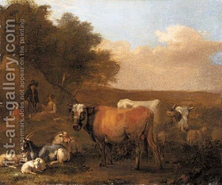 Landscape With A Family Of Drovers And Their Animals by Albert-Jansz. Klomp - Reproduction Oil Painting