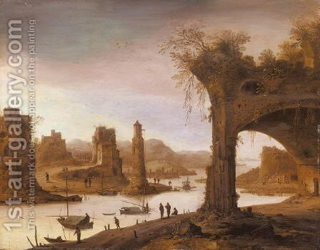 A River Landscape With Figures Standing Before Ruins by Dirck Verhaert - Reproduction Oil Painting