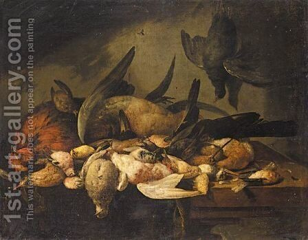 Still Life With A Cockerel, A Duck, A Snipe And Various Songbirds Together On A Wooden Table by Cornelis van Lelienbergh - Reproduction Oil Painting