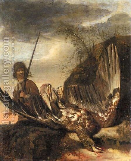 Still Life With A Hawk In The Foreground, A Huntsman Beyond by Dutch School - Reproduction Oil Painting