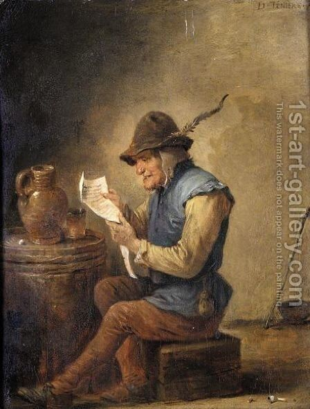 Interior With A Boor Reading A Letter by (after)  David The Younger Teniers - Reproduction Oil Painting