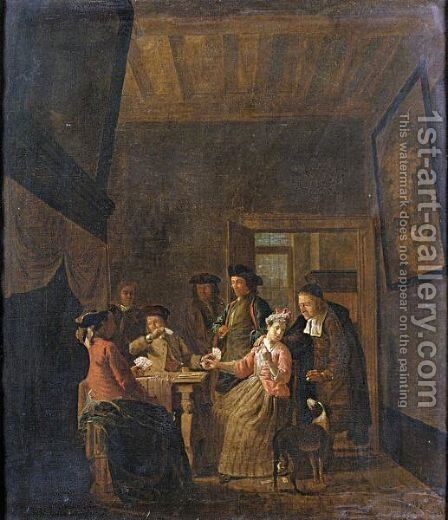 Interior With An Elegant Company Playing Cards by Maximilian Blommaert - Reproduction Oil Painting