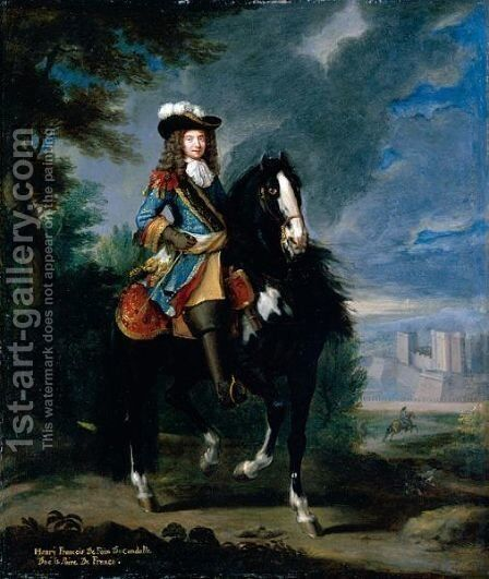 Equestrian Portrait Of Henry Francois De Foix De Candalle (1640-1714) by (after) Adam Frans Van Der Meulen - Reproduction Oil Painting