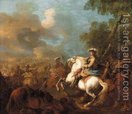 A Cavalry Battle 2 by Charles Parrocel - Reproduction Oil Painting