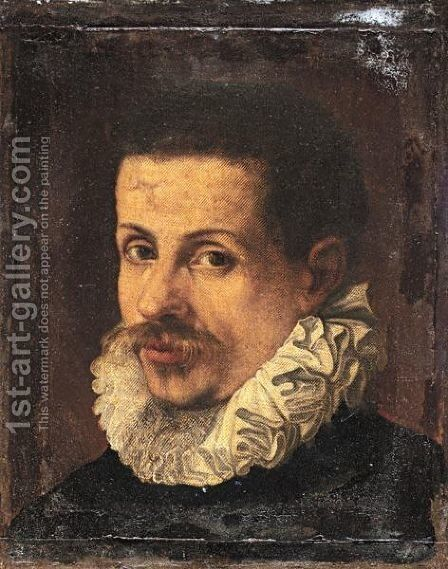 Portrait Of A Gentleman, Head And Shoulders, Wearing Black With A White Ruff by Annibale Carracci - Reproduction Oil Painting