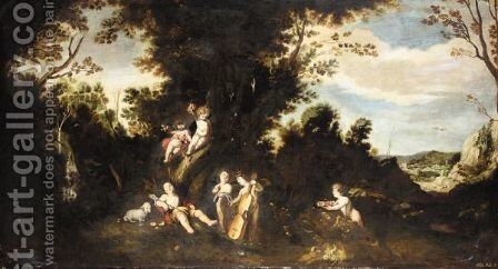 The Infant Saint John The Baptist In A Landscape With Putti by Spanish School - Reproduction Oil Painting