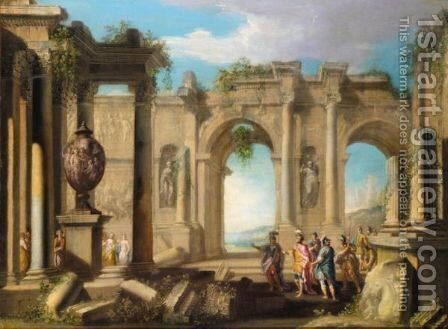 An Architectural Capriccio With Figures In Classical Dress Amongst Ruins by (after) Alberto Carlieri - Reproduction Oil Painting