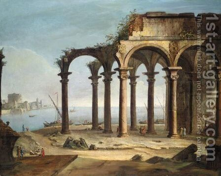 Capriccio Of Ruins Beside A Port With Figures And Boats, The Castel Sant'Angelo And City Walls Beyond by (after) Giovanni Battista Moretti - Reproduction Oil Painting