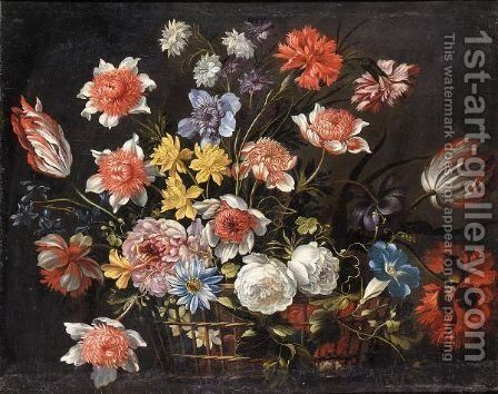 Still Life With Carnations, Tulips And Various Other Flowers In A Basket On A Stone Ledge by (after) Nicolas Baudesson - Reproduction Oil Painting