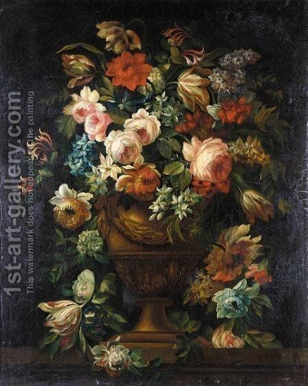 Still Life Of Flowers In An Urn by (after) Jean Baptiste Belin De Fontenay - Reproduction Oil Painting