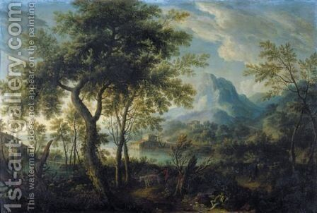 A Mountainous Landscape With A Lake And Figures On A Road In The Foreground by German School - Reproduction Oil Painting