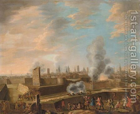 A Capriccio View Of The Siege Of A City by (after) Peter Tillemans - Reproduction Oil Painting
