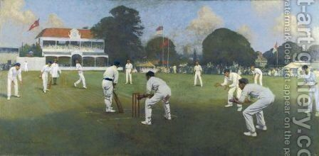 Kent V Lancashire, Canterbury 1906 by Albert Chevallier Tayler - Reproduction Oil Painting