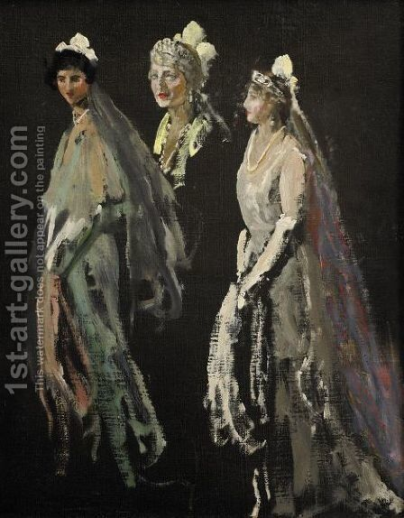 Portrait Studies Of The Lady Duveen Of Millbank, The Hon. Dorothy Duveen And Miss Shelagh Morrison-Bell by Sir John Lavery - Reproduction Oil Painting