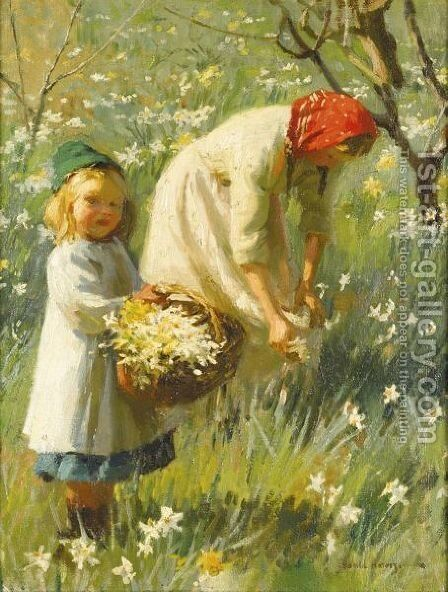 Picking Daffodils by Harvey Harold - Reproduction Oil Painting