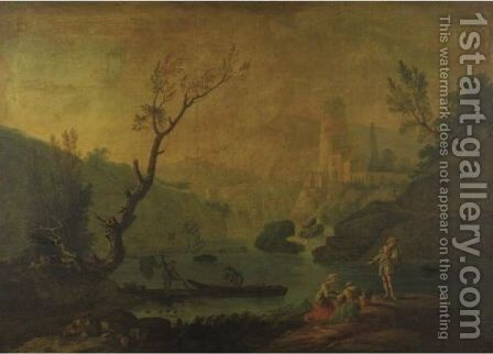 Extensive Landscape With Fishermen And A Fortress In A Distance by (after)  Claude-Joseph Vernet - Reproduction Oil Painting