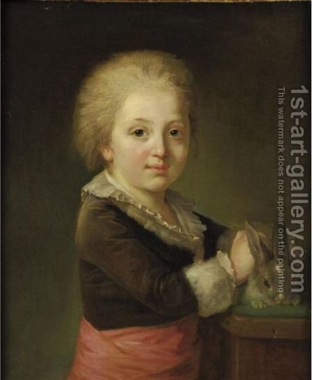 Portrait Of A Child With Rabbit by (after) Nicolas-Bernard Lepicier - Reproduction Oil Painting