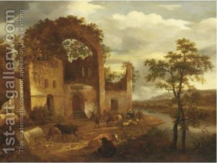 Architectural Capriccio With Peasants And Cattle by Dirck Verhaert - Reproduction Oil Painting