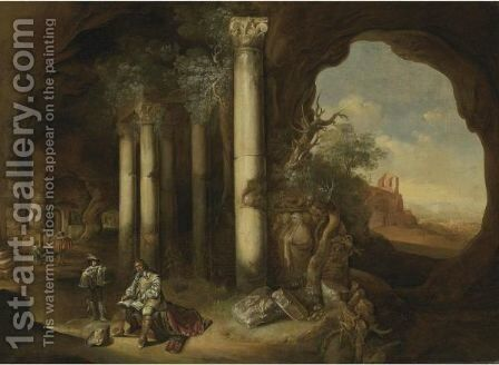 A Grotto With An Artist Sketching Amongst Classical Ruins by Abraham van Cuylenborch - Reproduction Oil Painting