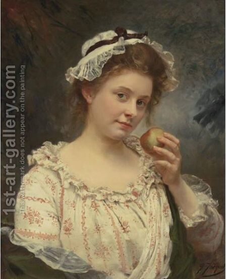 The First Bite by Gustave Jean Jacquet - Reproduction Oil Painting