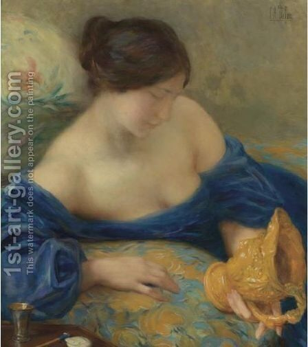 Admiring A Vase by Clementine-Helene Dufau - Reproduction Oil Painting