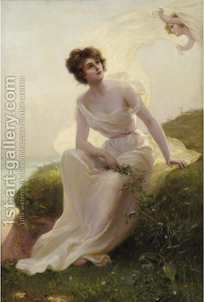 The Caress Of A Summer Breeze by Edouard Bisson - Reproduction Oil Painting